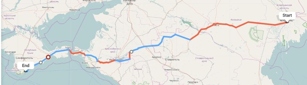 Переезд из Астрахани в Ялту