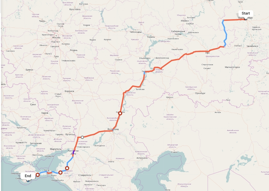 Переезд из Екатеринбурга в Ялту