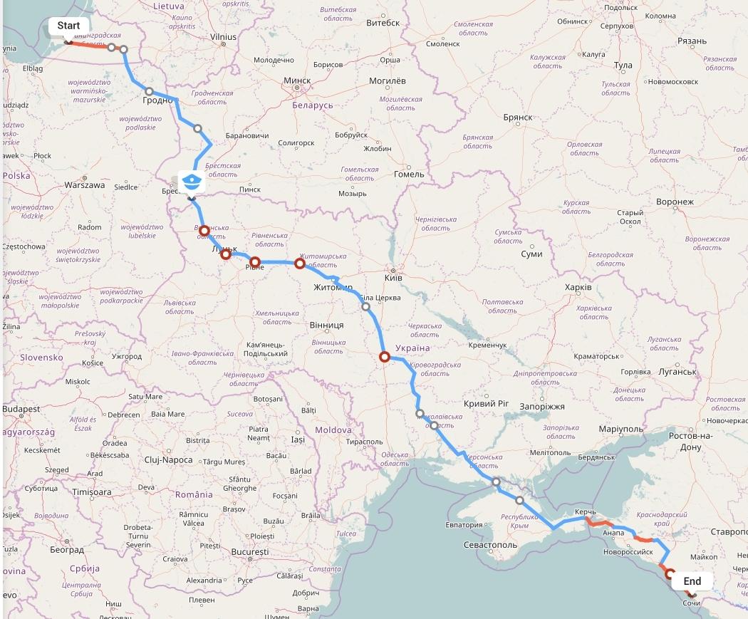 Переезд из Калининграда в Сочи