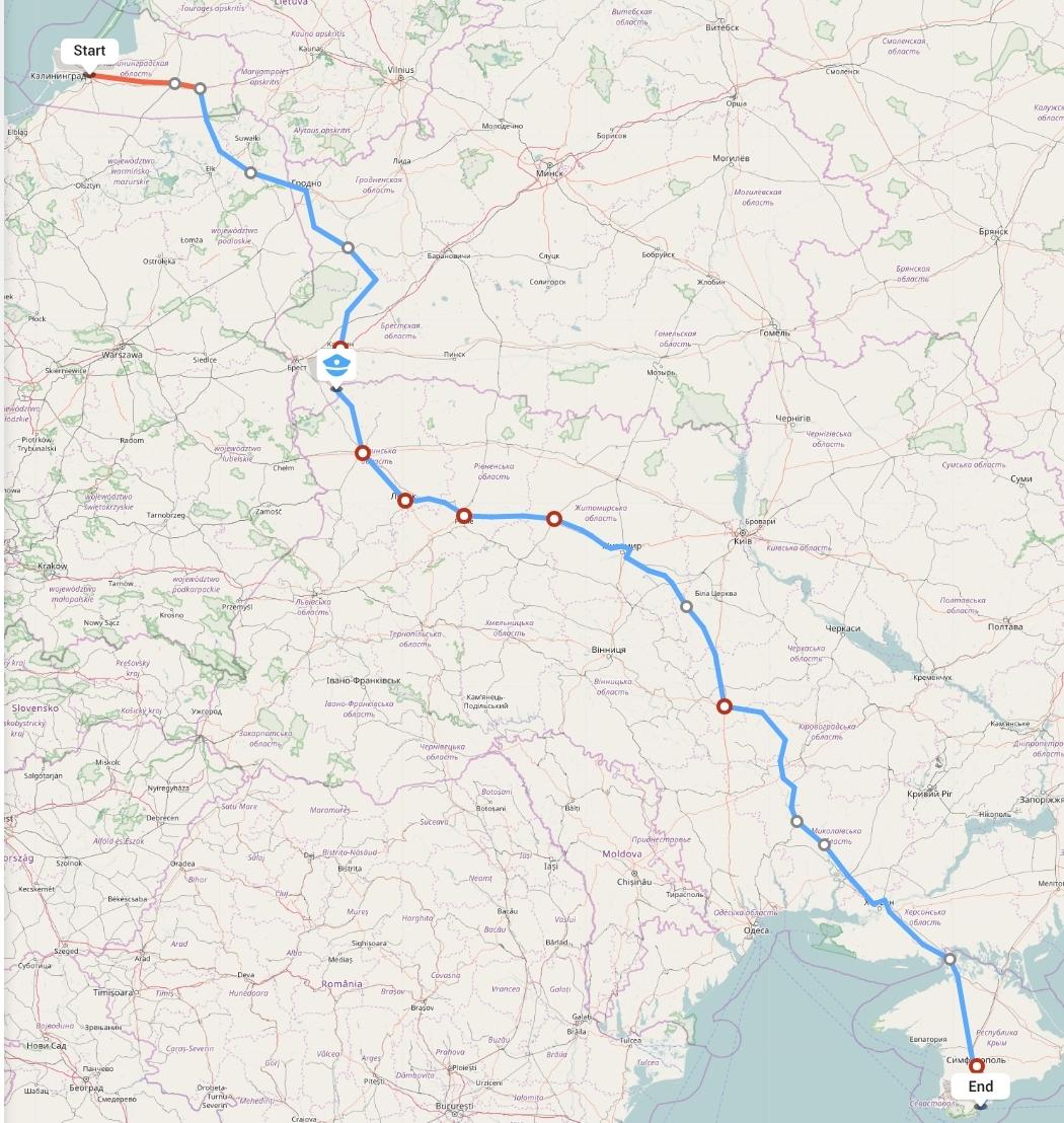 Переезд из Калининграда в Ялту