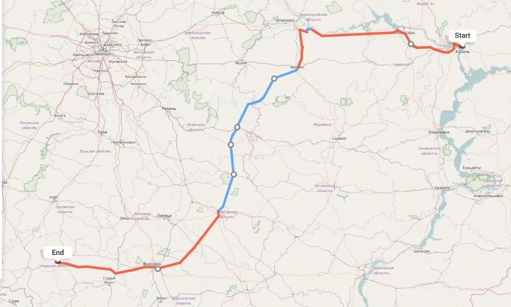 Переезд из Казани в Курск