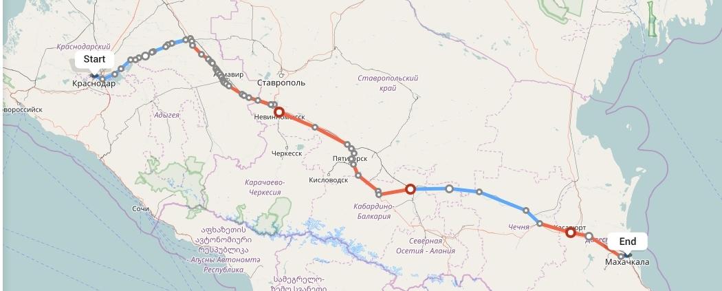 Переезд из Краснодара в Махачкалу