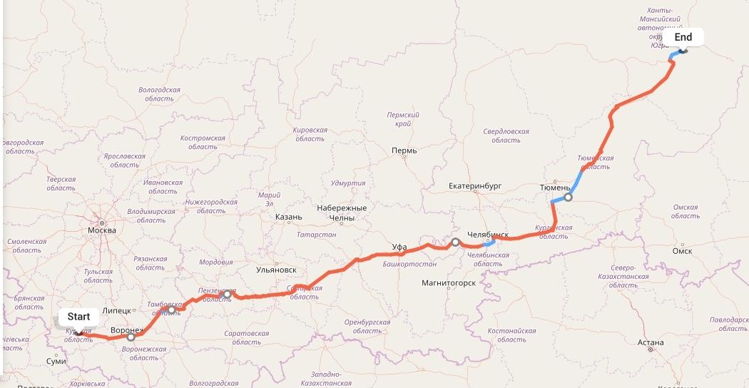 Переезд из Курска в Сургут