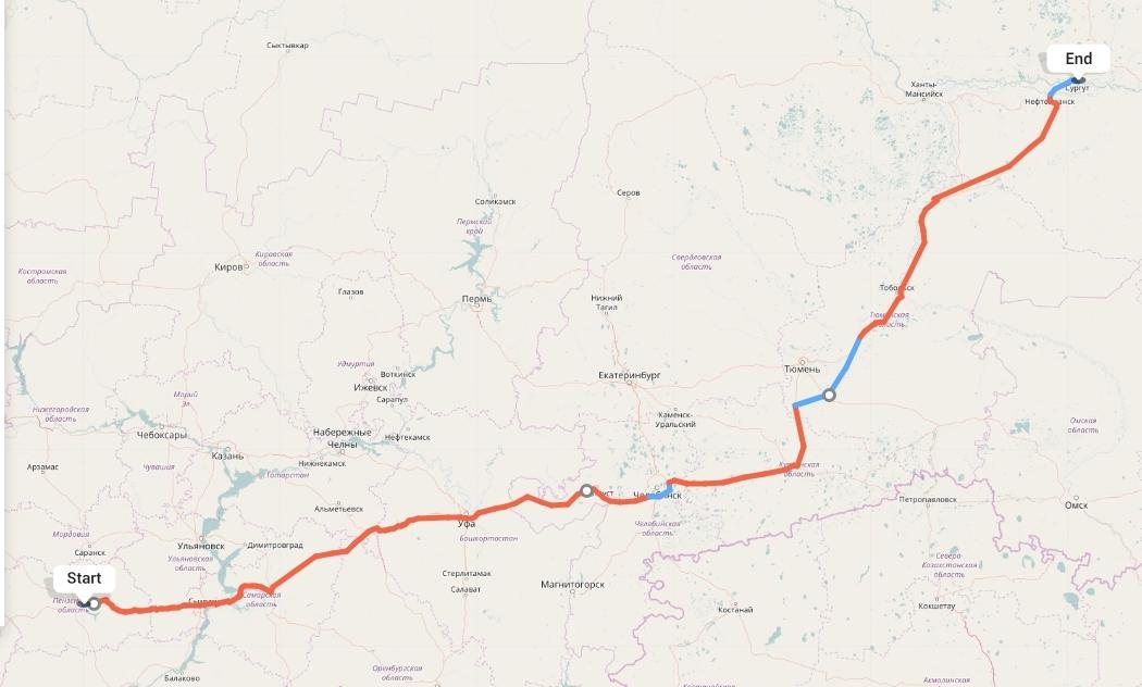 Переезд из Пензы в Сургут