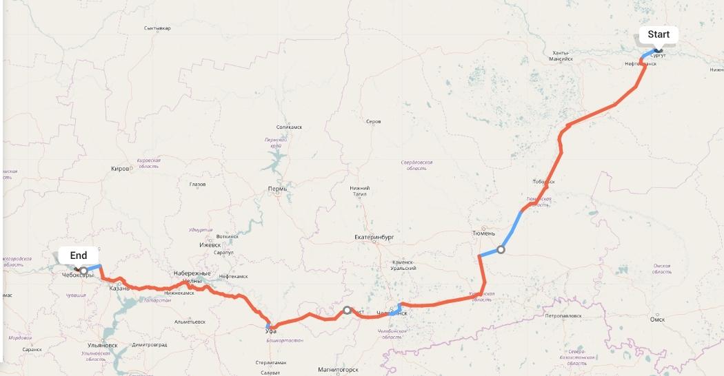 Переезд из Сургута в Чебоксары