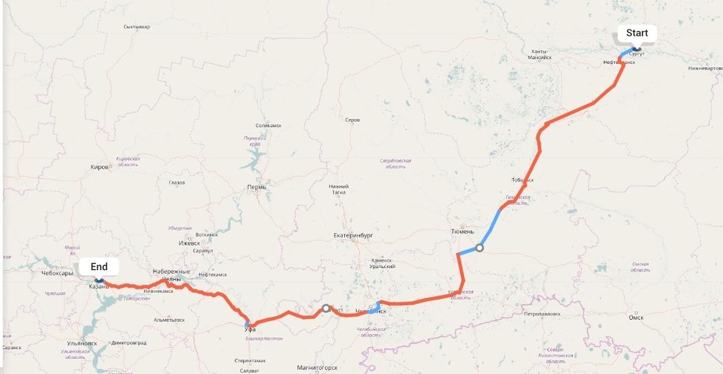 Переезд из Сургута в Казань