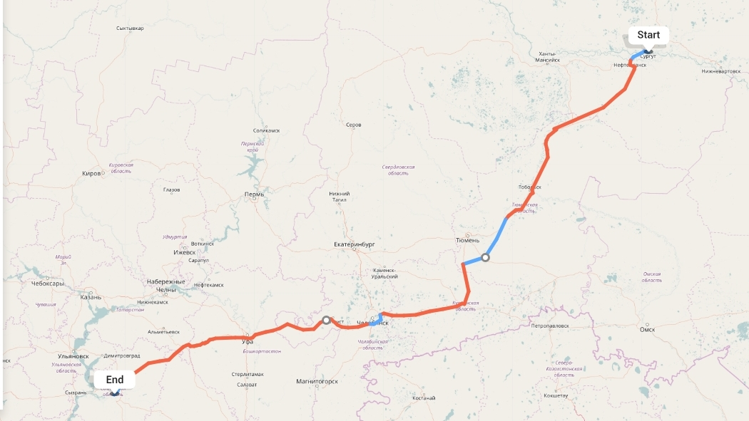 Переезд из Сургута в Самару