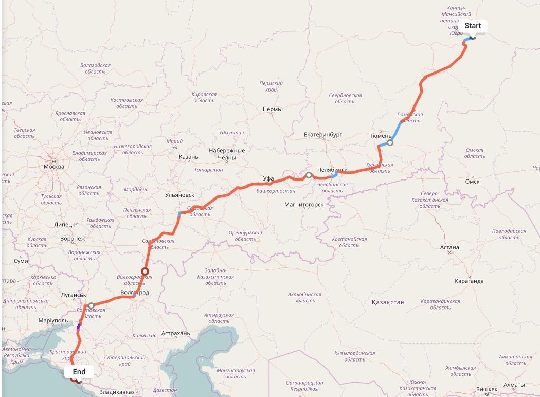 Переезд из Сургута в Сочи