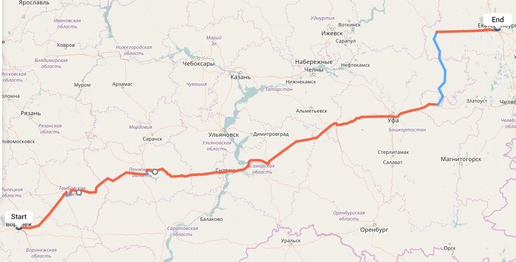Переезд из Воронежа в Екатеринбург
