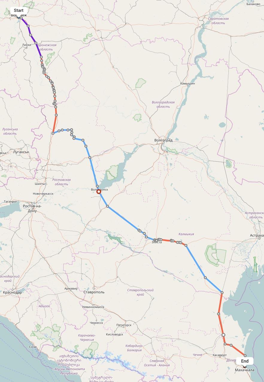 Переезд из Воронежа в Махачкалу