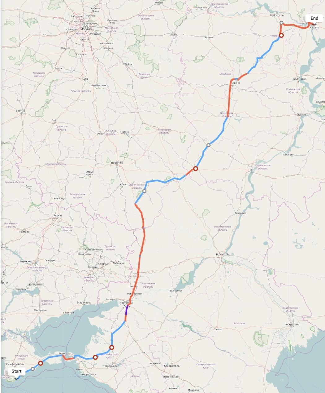 Переезд из Ялты в Казань